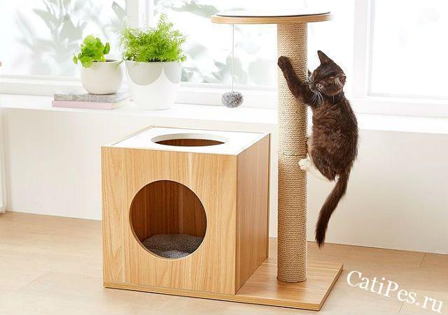 Домик и когтеточка для кошек
